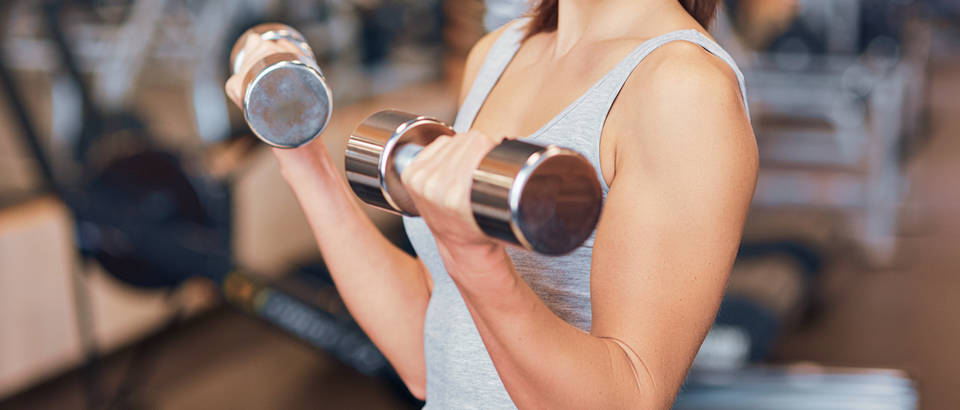 žena, vježba, biceps, uteg