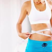 žena, fit, trbuh, struk, mjerenje, metar