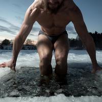 Muškarac, mišići, bilder, led, voda, zima, snijeg, Shutterstock 238978183