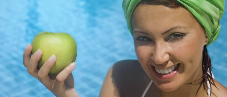 jabuka, ljeto, zena, ljepota, zdrava hrana, sunce, voda