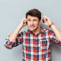 slušalice, sluh, muškarac, glasno