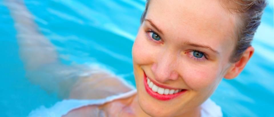 zena, ljepota, ljeto, voda, bazen, more