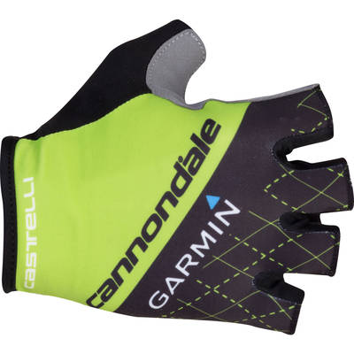 Castelli Cannondale Garmin Roubaix Gloves Short Finger Gloves Black Sprint Green SS15