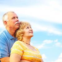 stariji par, nebo, sreca, starost