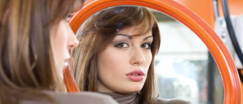 zena, njega, lice, ogledalo
