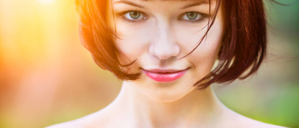 zena, frizura, osmijeh, sunce, kosa, sminka, makeup