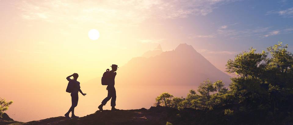 Planinarenje, par, siluete, sunce, priroda, Shutterstock 274799849