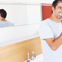 zubi, cetkanje, pasta, ogledalo, kupaonica