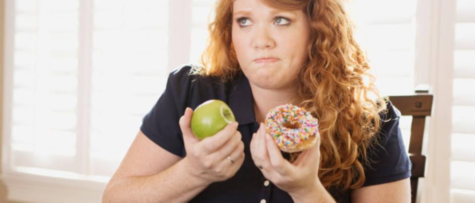 dilema, debeljuca, jabuka, zdrava hrana, krafna, dijeta