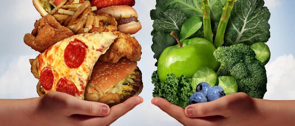 Zdrava hrana brza hrana povrće masno masti shutterstock 217363123