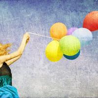 Baloni, sreca, zena