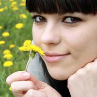 Priroda, maslacak, uzivanje, zena