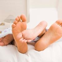 krevet, stopala, par, seks