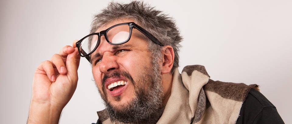 Muškarac, star, naočale, slab vid, Shutterstock 315485912
