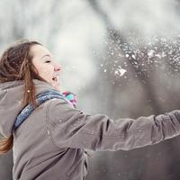 snijeg, sreca, zima, zena