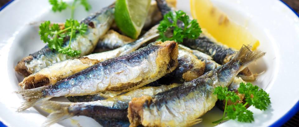 Srdela srdele sardina sardine pecene pecena morska riba limun persin tanjur shutterstock 352481930