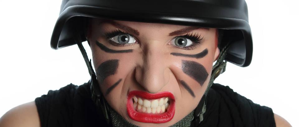 Žena, ljuta, ljutnja, opasno, facepaint, Shutterstock 64678906