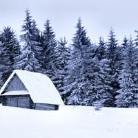 koliba, snijeg, zimovanje, osama