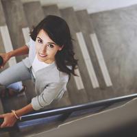 stepenice, trening, žena, posao