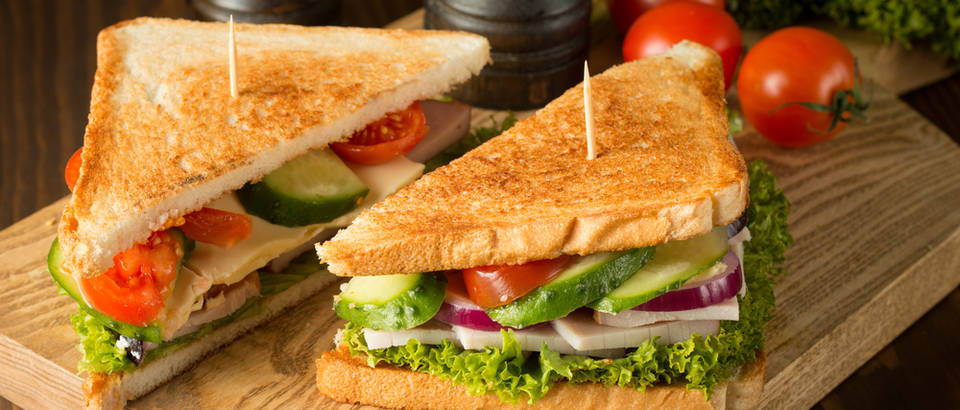 sendvič, tost, povrće, grickalica