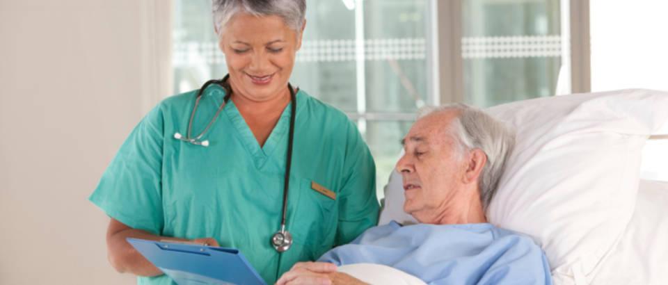 bolnica, medicinska sestra, stariji muskarac