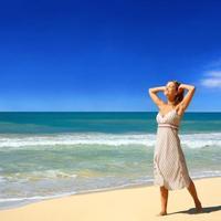 plaza, odmor, haljna, zena, sreca, ljeto, sunce, more