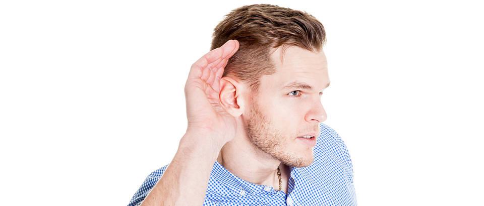 Slušanje muškarac mladić uho nasluškivanje shutterstock 356416406