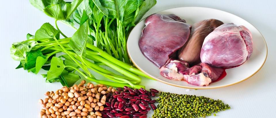 povrce, meso, hrana zeljezo, shutterstock