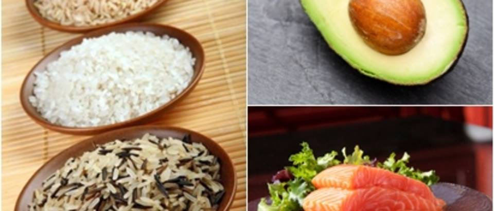 Riza, losos, avokado, zdrava hrana