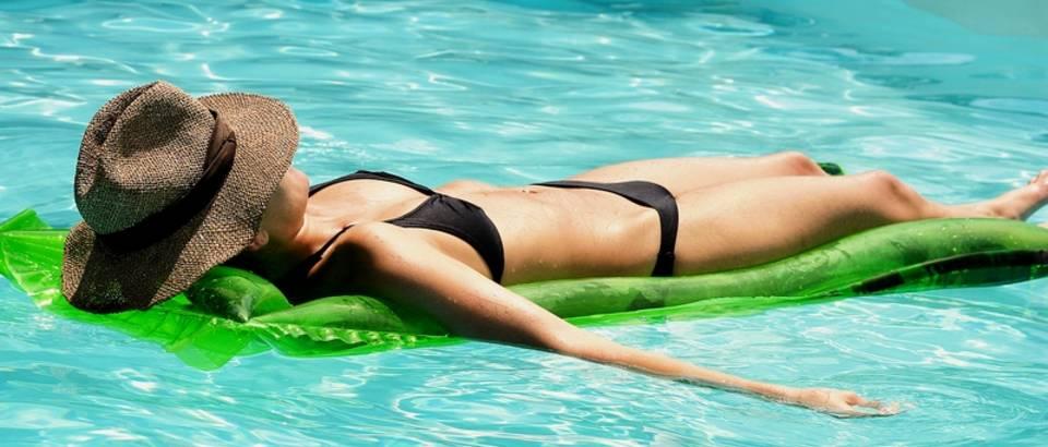 bikini, voda, koza, suncanje, ljeto