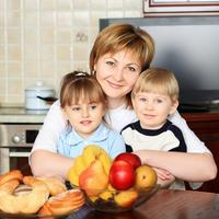 djeca, obitelj, kuhinja, voce