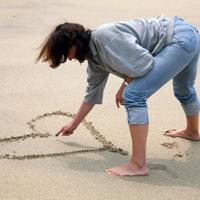 Srce, plaza, ljubav, pijesak