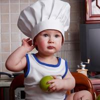dijete, vegetarijanstvo, vege, kuhar, jabuka