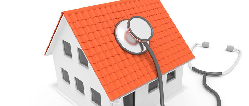 Sindrom bolesne zgrade kuća dom prostor zdravo stanovanje zdravlje stetoskop shutterstock 287070689